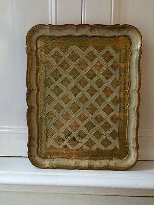 Vintage Antique Florentine Gilded Wooden Decorative Tray A