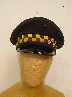 Vintage 1950s 60s Chicago police hat checkered cap 7 3/8