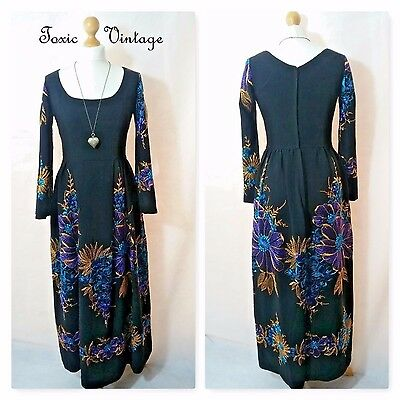 VINTAGE 1970's BLACK FLORAL MAXI DRESS 10-12 ELEGANT CHIC RETRO FORMAL PARTY