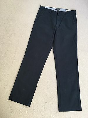 BANANA REPUBLIC Mens Trousers W32 L34 Navy Blue Cotton Pin Stripe