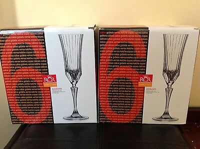Adagio Rcr Home And Table Crystal 6 1/4 Oz Champagne Flutes Lot Of 12 New In Box