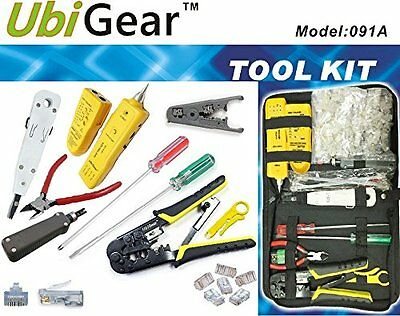 UbiGear Network Cable Tester Finder Probe +Crimper +100 CAT5e RJ45 Plug Tool Kit