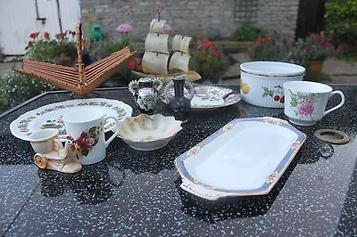 Retro, vintage assortment of china and collectables, plus fruit basket