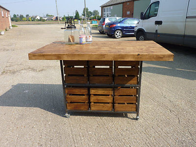 Stunning Industrial Rustic Kitchen Island Breakfast Bar Table Reclaimed Salvage