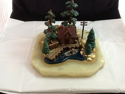 Large Vtg 1988 Ron Lee Onyx Base Boulder Bay Fishing Boat & Bait 83/1250