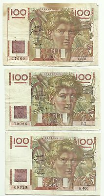 Lot 3 Billets 100 Francs Paysan Signatures Differentes