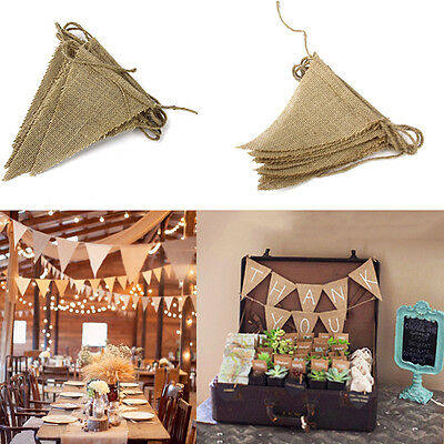 Chic Wedding Party Decor Vintage Jute Hessian Burlap Flags Bunting Banner Shabby