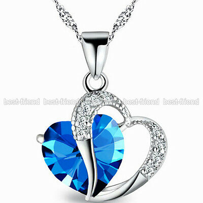 Women Full Crystal Rhinestone Silver Plated Chain Heart Pendant Necklace Jewelry