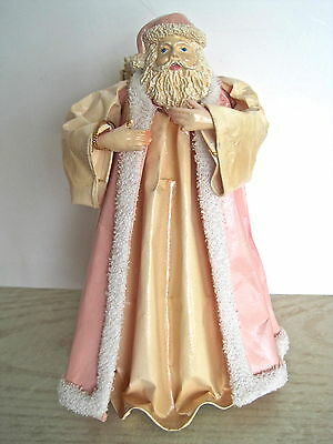 Shabby Pink Paper Mache Father Christmas Tree Topper Santa Ornament By Silvestri