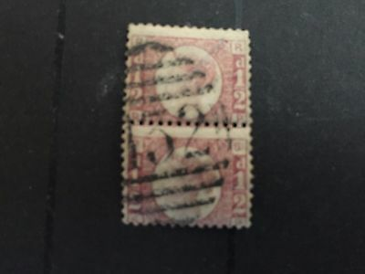 GB used stamps QV 1/2d nice vert pr of plate 5  pos RP,SP with132 CDS see scan