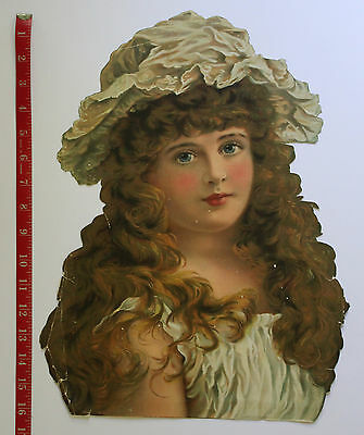 Large Vintage  Paper Scrap of Pretty Young Girl
