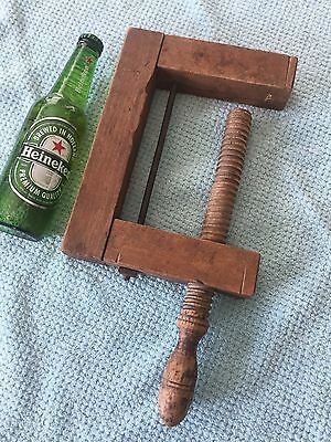 Antique Wood C-Clamp Vice-Grip - England