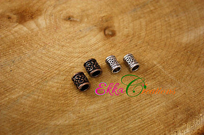 Viking Beard Beads/4 count viking biker beads/Antique red copper beads/7 mm hole