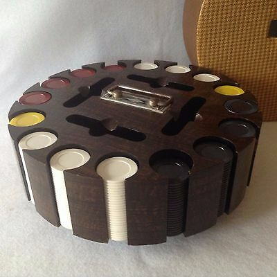 Vintage 16 Slot Poker Chip Caddy with Cover