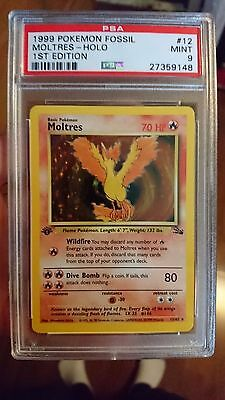 Pokemon- First Edition Fossil Moltres Holo 12/62- PSA 9- Mint