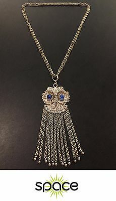 Large Vintage Costume Silver Owl W/ Blue Jewel Eyes Statement Necklace Free Ship