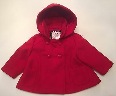 F&f Baby Girl Beautiful Red Hooded Coat ( 3 - 6 Months )
