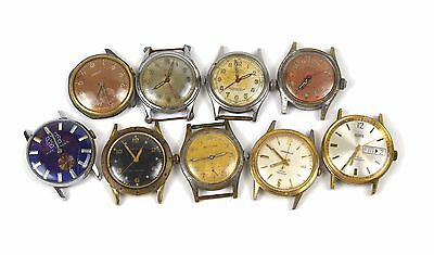 Lot of 9 Vnt Mechanical Watches Military Benrus Swank Waltham Camy FOR REPAIR