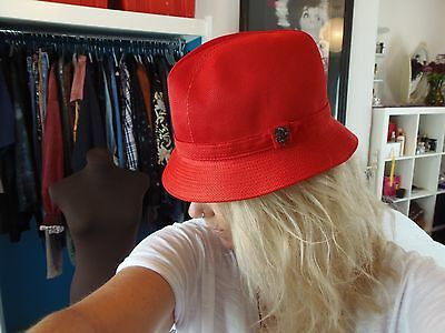 Philip Treacy London Red Trilby Hat Size M
