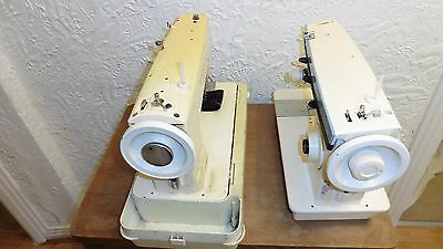"""2 SINGER SEWING MACHINE HEADS AND LEAF TABLE FOR FULL SIZE MACHINE """"job lot"""""""