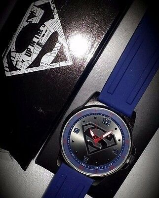 "Men's Superman Watch Marvel Comics~ 10"" Silicone Strap ~ Blue & Silver $40 Value"