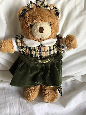 Harrods Teddy Bear Soft Cuddly Little Girl Wearing Harrods Dress Preloved