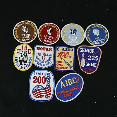 10 VTG AJBC American Junior Bowling Congress Patches High Game Series Average
