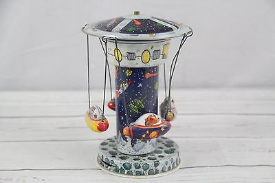 Vintage Space Ship Windup Rocket Ride Spinning Carousel Tin Lithographed Toy