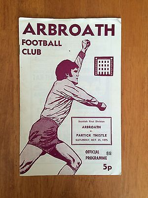 1975/76 Arbroath V Partick Thistle Scottish First Division Programme