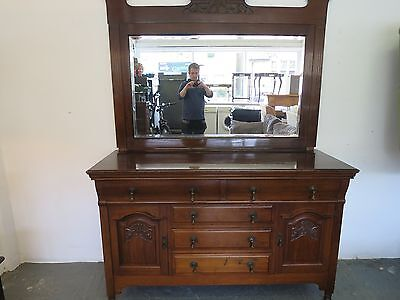 very large Antique dark mahogany dressing table