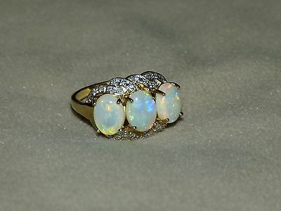 Fabulous 9 Carat Ct Gold Opal And Diamond Ring Sizen1/2