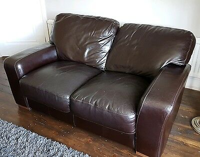 Brown Leather 2 seater sofa LEEDS COLLECTION *DAMAGED*