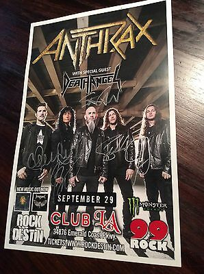 ANTHRAX Venue Poster Thrash Metal Big 4 Signed Autographed By All Death Angel