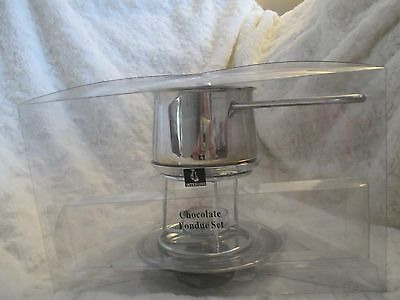 stainless steel chocolate fondue pan stand and candle