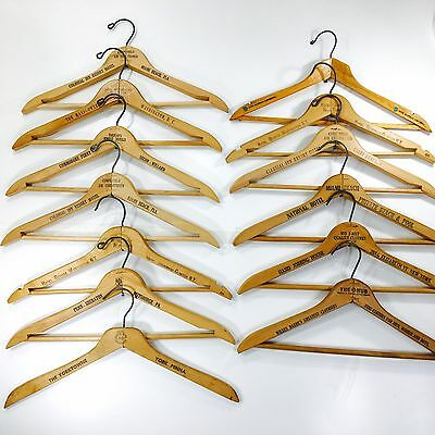 Vintage Wooden Hangers Lot Of 13 Old Hotels New York Miami Washington DC