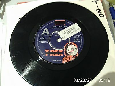 "T.REX 20th CENTURY BOY 7"" RARE 1973 UK ORIGINAL A LABEL DEMO MARC BOLAN"