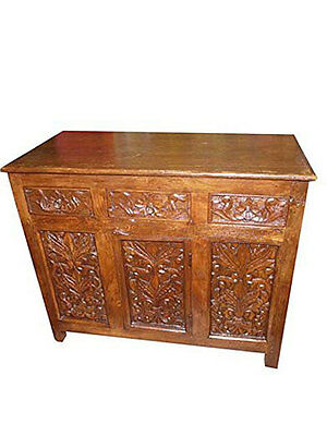 ANTIQUE SIDEBOARD teak FLORAL carved console BUFFET VINTAGE INDIAN FURNITURE