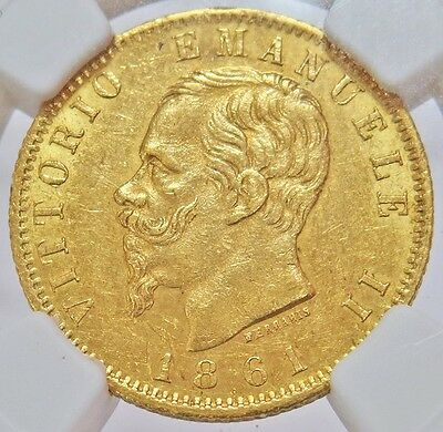1861 T Bn Gold Italy 20 Lire Vittorio Emanuele Iii Coin Ngc About Unc. 58