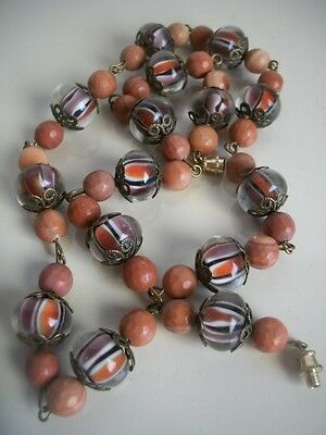 """50s Vintage Murano Venetian Faceted Glass Beaded Necklace 20"""" Retro Excellent"""