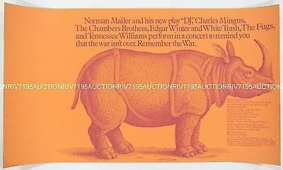 THE FUGS, CHARLES MINGUS, EDGAR WINTER anti-Vietnam War concert poster NYC 1971