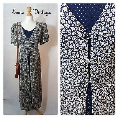 VINTAGE 1980's DITSY FLORAL AND POLKA DOT SUMMER DRESS SIZE 14 BOHO KITSCH CUTE