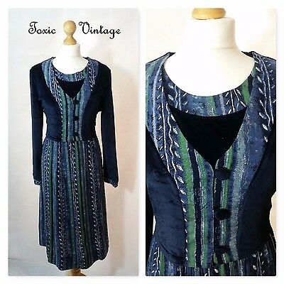 VINTAGE 1980's 1990's BLUE VELVET ETHNIC PRINT DRESS SIZE 16 BOHO KITSCH RETRO
