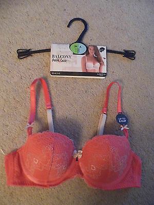 Pink Underwired Push Up Plunge Bra From Marks & Spencer - Size 34A - Bnwt
