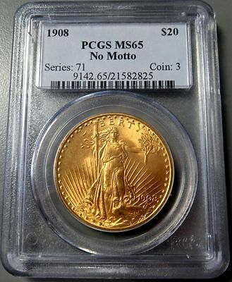 1908 Gold United States $20 St Gaudens No Motto Mint State 65