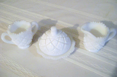 Westmoreland Milkglass Diamond Quilt Pattern Sugar/Creamer & Relish Set