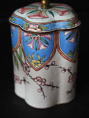 Antique Chinese Hand Painted Pink Blue Blossom Enamel Copper Scallop Tea Box Jar