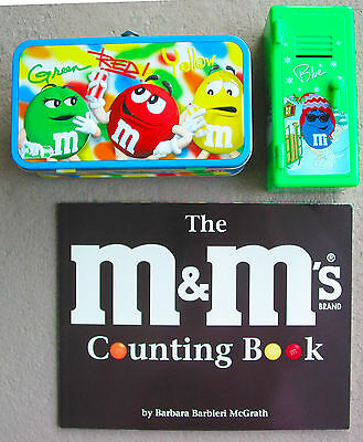 Vintage 3 Items M&M School Counting Book, Locker Bank & Lunchbox young child
