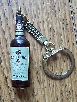 Vintage SEAGRAM'S 7 Seven Crown Miniature Whiskey Bottle Key Chain Liquor Bar