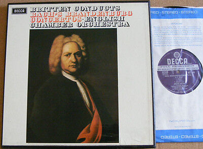 BRITTEN Bach Brandenburg Concertos Ex+ UK Decca Wide Band 2LP Box Set