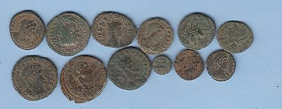 12 Roman Coins Decent Condition English Origins. Auction Starts At £1